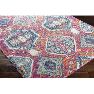 Almonte Distressed Pink/Light Blue Area Rug Rug Size: Runner 27 x 76