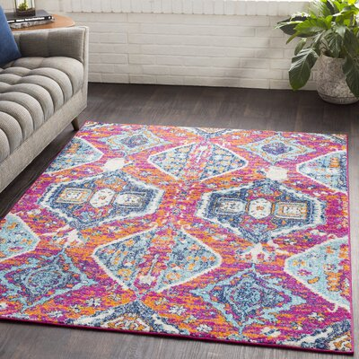 Almonte Distressed Pink/Light Blue Area Rug Rug Size: Rectangle 710 x 103