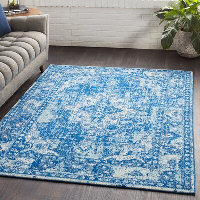 Almonte Distressed Navy/Light Blue Area Rug Rug Size: Rectangle 53 x 76