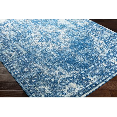 Almonte Distressed Navy/Light Blue Area Rug Rug Size: Runner 27 x 76