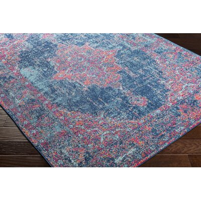 Almonte Distressed Pink/Navy Area Rug Rug Size: Runner 27 x 76
