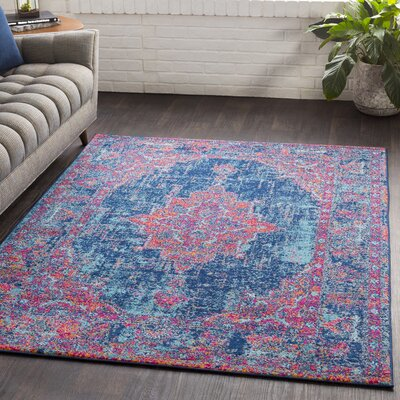 Almonte Distressed Pink/Navy Area Rug Rug Size: Rectangle 710 x 103