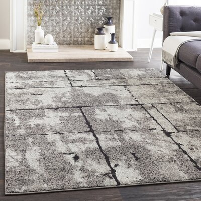 Cateline Distressed Taupe/Charcoal Area Rug Rug Size: Rectangle 53 x 76