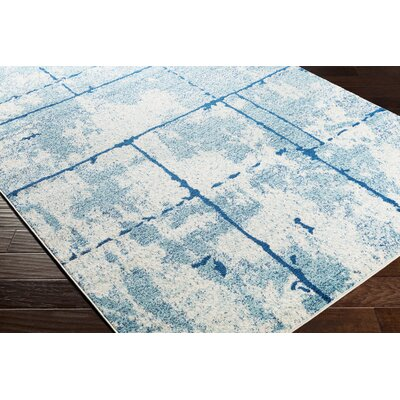 Cateline Distressed Navy/Light Blue Area Rug Rug Size: Runner 27 x 76
