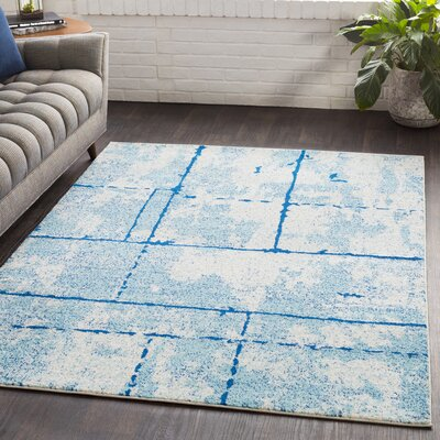 Cateline Distressed Navy/Light Blue Area Rug Rug Size: Rectangle 710 x 103