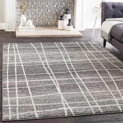 Cateline Distressed Charcoal/Gray Area Rug Rug Size: Rectangle 53 x 76