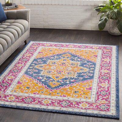 Almonte Traditional Gold/Navy Area Rug Rug Size: Rectangle 53 x 76