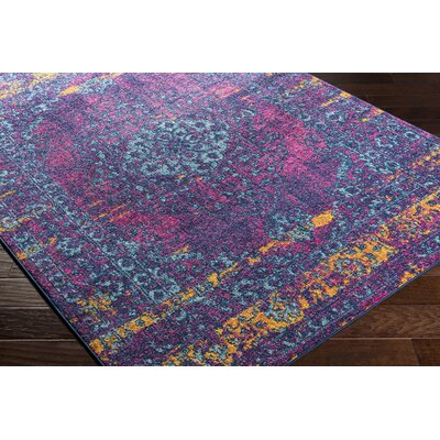 Almonte Distressed Pink/Teal Area Rug Rug Size: Runner 27 x 76