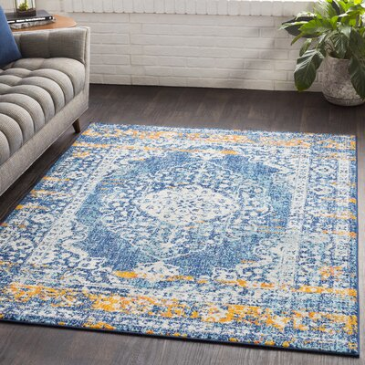 Almonte Distressed Navy/Light Blue Area Rug Rug Size: Rectangle 710 x 103