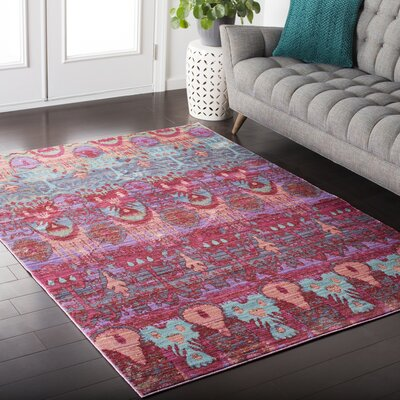 Almaraz Bright Pink/Mint Area Rug