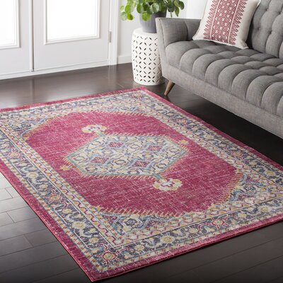 Almaraz Distressed Bright Pink/Violet Area Rug