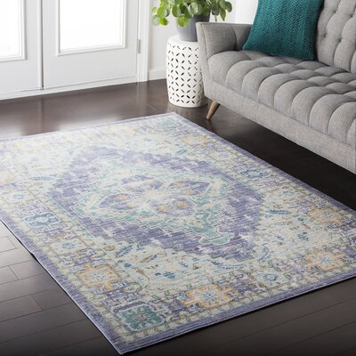 Almaraz Distressed Bright Purple/Mint Area Rug