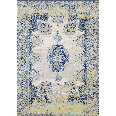 Altamirano Distressed Navy/Yellow Area Rug Rug Size: Rectangle 93 x 126