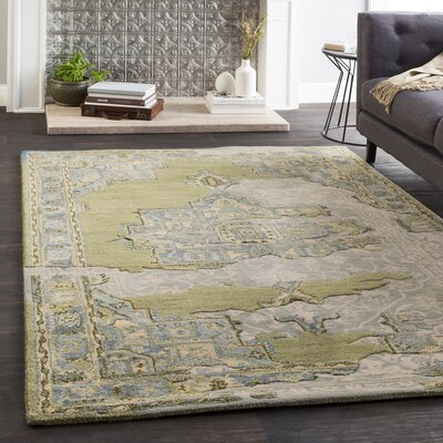 Landreth Hand Tufted Wool Light Gray/Beige Area Rug Rug Size: Rectangle 5 x 76