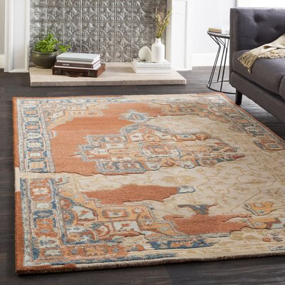 Landreth Hand Tufted Wool Peach/Light Gray Area Rug Rug Size: Rectangle 8' x 10'