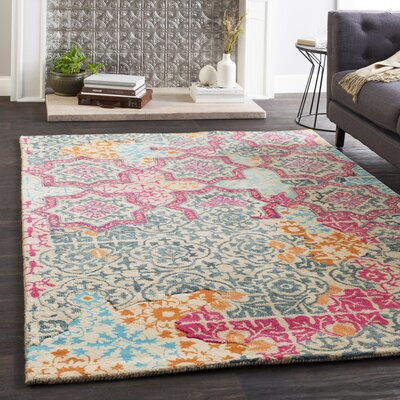 Landreth Hand Tufted Wool Navy/Wheat Area Rug Rug Size: Rectangle 5 x 76