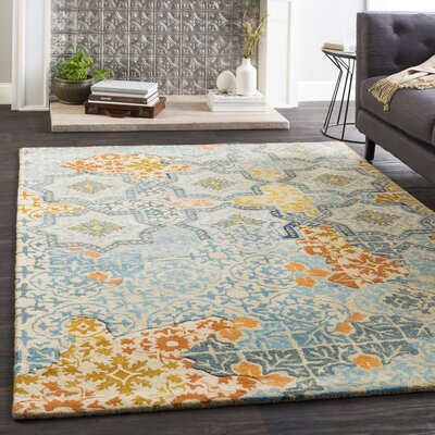 Landreth Hand Tufted Wool Aqua/Khaki Area Rug Rug Size: Rectangle 5' x 7'6