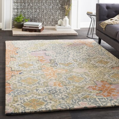 Landreth Hand Tufted Wool Teal/Khaki Area Rug Rug Size: Rectangle 8 x 10