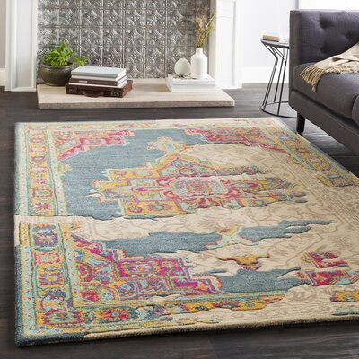 Landreth Hand Tufted Wool Teal/Bright Pink Area Rug Rug Size: Rectangle 5 x 76