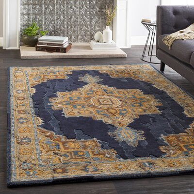Greaney Hand Tufted Wool Black/Navy Area Rug Rug Size: Rectangle 8 x 10