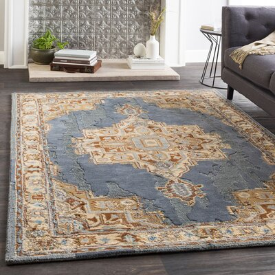 Greaney Hand Tufted Wool Teal/Wheat Area Rug Rug Size: Rectangle 5 x 76