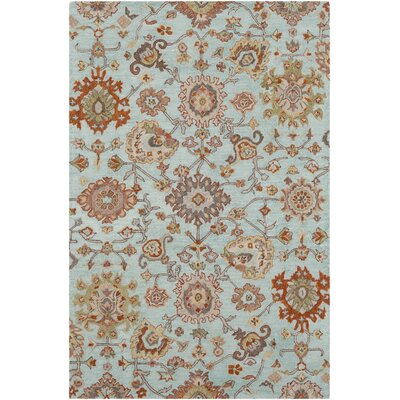 Greater Taree Hand Hooked Wool Sea Foam/Burnt Orange Area Rug Rug Size: Rectangle 2 x 3