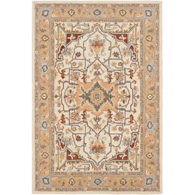 Greater Taree Hand Hooked Wool Peach/Cream Area Rug Rug Size: Rectangle 5 x 76