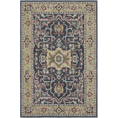 Greater Taree Hand Hooked Wool Black/Moss Area Rug Rug Size: Rectangle 2 x 3