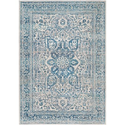 Lancaster Vintage Distressed Teal/Navy Area Rug Rug Size: Rectangle 22 x 3