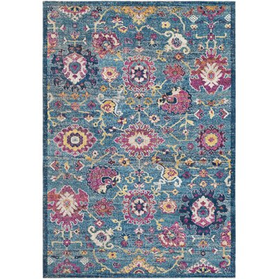 Lancaster Traditional Teal/Navy Area Rug Rug Size: Rectangle 710 x 106