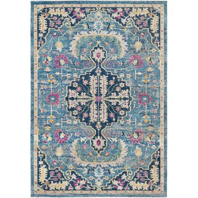 Lancaster Traditional Teal/Navy Area Rug Rug Size: Rectangle 52 x 76