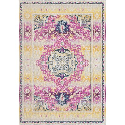 Lancaster Traditional Fuschia/Butter Area Rug Rug Size: Rectangle 52 x 76