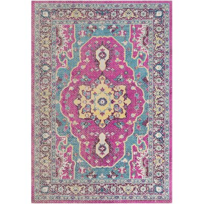 Lancaster Traditional Fuschia/Teal Area Rug Rug Size: Rectangle 710 x 106