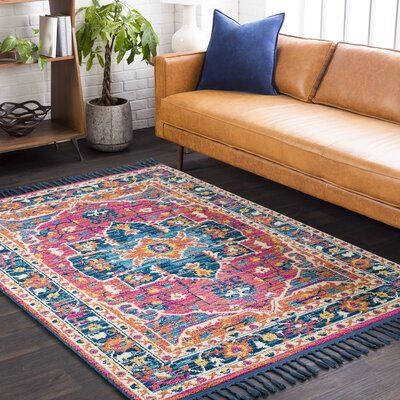 Bacchus Traditional Bright Pink/Navy Area Rug Rug Size: Runner 27 x 10