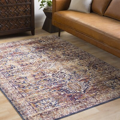 Jenessa Distressed Navy/Burgundy Area Rug