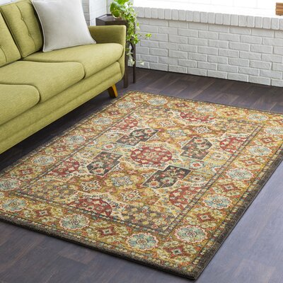 Grayer Classic Bright Yellow/Dark Brown Area Rug