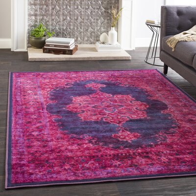 Almon Distressed Bright Pink/Dark Purple Area Rug