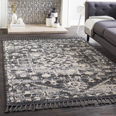 Kenley Distressed Charcoal/Light Gray Area Rug Rug Size: Runner 27 x 73