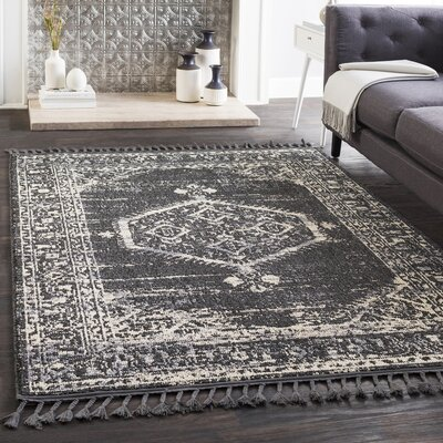 Kenley Distressed Charcoal/Light Gray Area Rug Rug Size: Runner 27 x 71