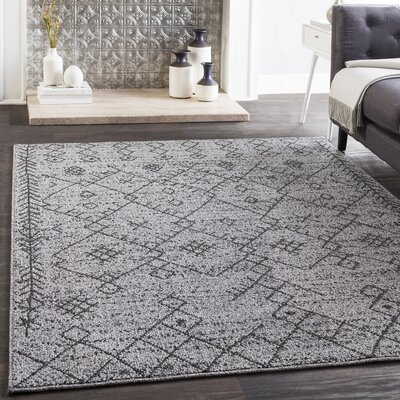 Kress Bohemian Charcoal/Gray Area Rug Rug Size: Runner 27 x 71