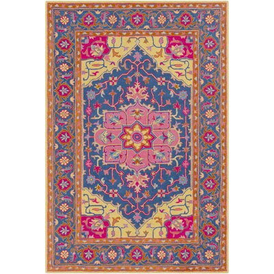 Lanesborough Hand Tufted Wool Denim/Bright Pink Area Rug Rug Size: Rectangle 5 x 76