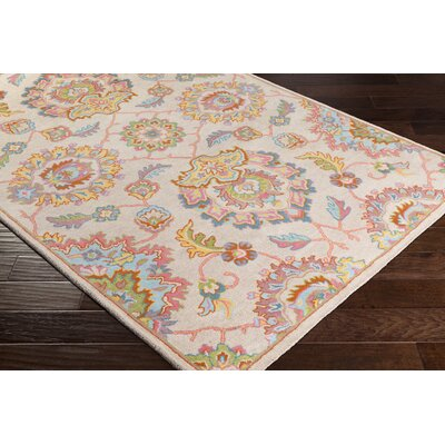 Browns Hand Tufted Wool Beige/Bright Blue Area Rug Rug Size: Runner 2 x 71