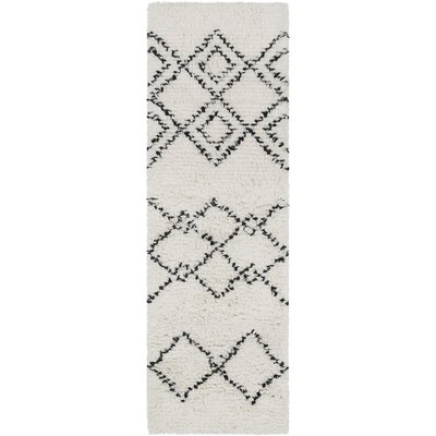 Calvin Bohemian Hand Woven Wool White/Camel Area Rug