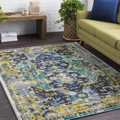 Landers Distressed Dark Green/Emerald Area Rug