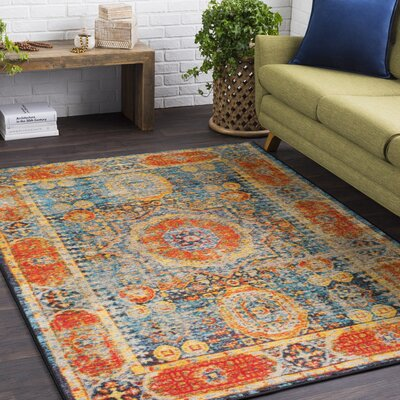 Landers Distressed Bright Orange/Aqua Area Rug