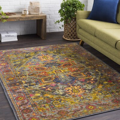 Landers Traditional Lime/Bright Yellow Area Rug