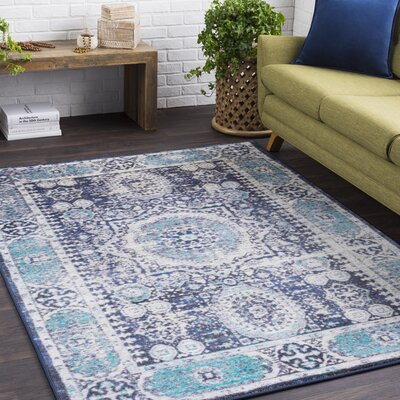 Landers Distressed Bright Blue/Black Area Rug
