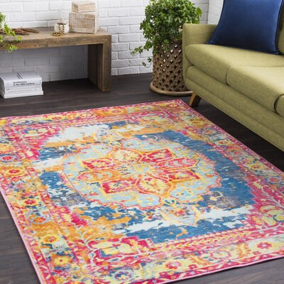 Landers Distressed Pink/Red Area Rug