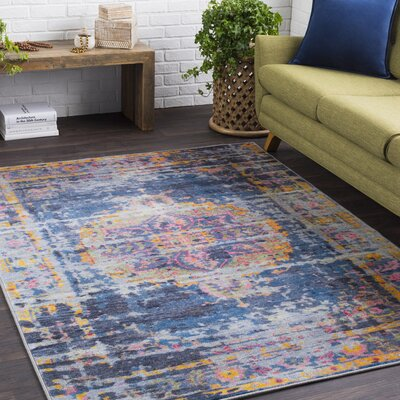 Landers Distressed Bright Blue/Gray Area Rug