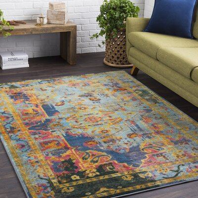 Landers Distressed Dark Blue/Lime Area Rug